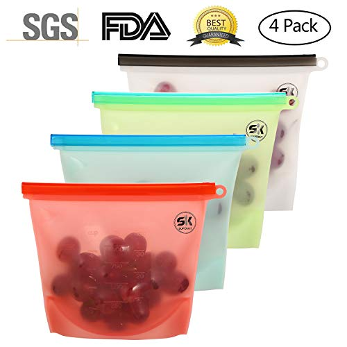 Silicone Food Storage Bag Reusable Silicone Food Bag 4PACK Food Grade Versatile Preservation Bag Container for Fruits Vegetables Meat 7.72X6.89 Green Blue Red White Color Assorted Silicone Food Bag