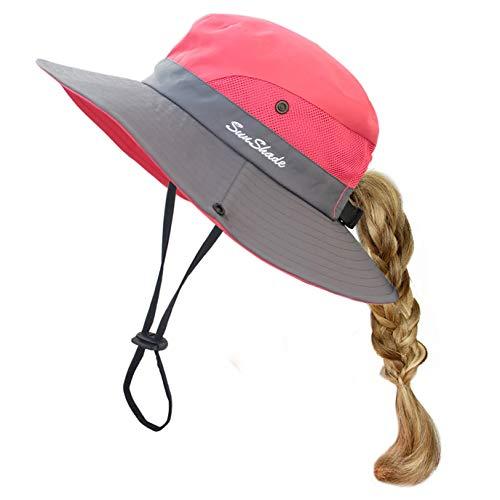 Toddler Child Kids Girls Summer Sun Hat UV Protection Wide Brim Beach Hat Floppy Bucket Hats for Fishing Gardening Watermelon Red (Girls Hat Sun)