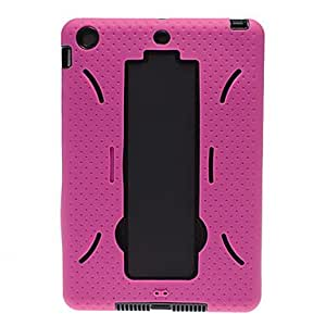 Robot Pattern Silicone Soft Case with Stand and Ventilation Holes for iPad mini (Assorted Colors) , Rose