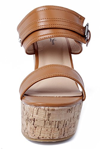 Offener Plateau AgeeMi Braun Heel Rund Zehe Damen Sandaletten Shoes High Keilabsatz q78S7xt