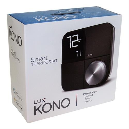 Case of (12) Lux Products KONO Kono Smart Wi-Fi Thermostat Black Stainless Steel Faceplate works with Amazon Alexa