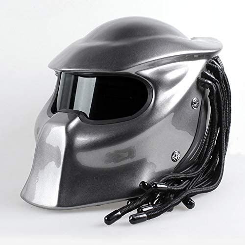 ヘルメット モトクロスヘルメット オートバイの人格ヘルメット フルフェイスプレデターアイアンブラッドウォリアーカーボンファイバーヘルメット 防曇ミラーレンズ LEDナイトライト付き,F,M