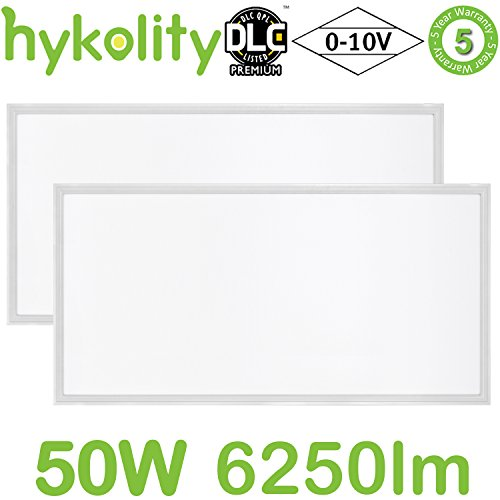 Flat Aluminum Panel (Hykolity 2x4 FT 50W 6250lm 4000K Lay-in LED Troffer Panel Light, 0-10V Dimmable Recessed Edge-Lit Troffer Fixture, Drop Ceiling Flat Panel Light, Eligible for Rebate Programs, DLC Premium- 2 Pack)