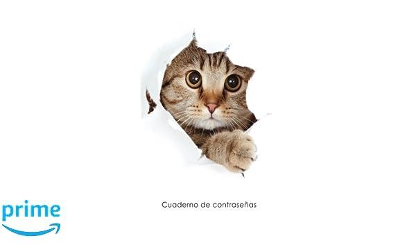 Cuaderno de contraseñas: Libro de registro de direcciones y contraseñas en internet - Cubierta de gato escondido (Cuadernos para los amantes de los gatos) ...