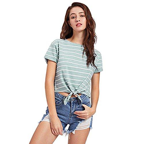 T-Shirt Femme Ete 2018 Ansenesna Femme t-Shirt Manches Courtes Strips Minimaliste Tee Col Rond +1 Paire de Lunettes de Soleil Élégantes Vert