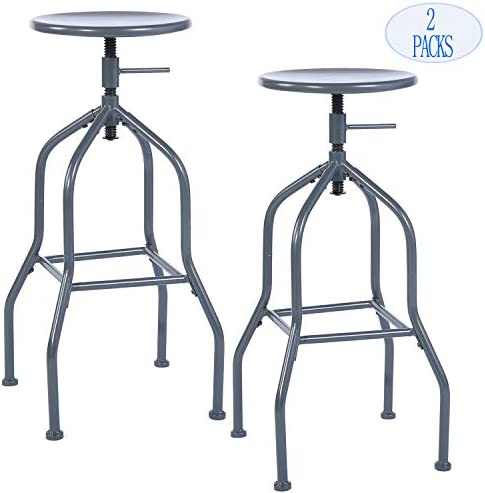 Bar Stools Barstool,Backless Swivel Bar Chairs, Bistro Pub Chair, Cafe Coffee Metal Counter Height Adjustable Industrial Barstools with Footrest,Grey Set of 2