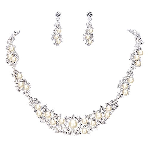 BriLove Women's Bohemian Crystal Cream Simulated Pearl Cluster Collar Necklace Dangle Earrings Set Clear -