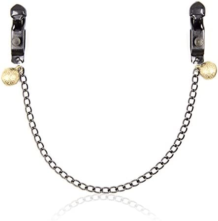 Dream Alice Adjustable Force Black Flat Mouth Clip with Chain Women Punk Goth Nipple Clamps Silicone Noose Non-Piercing Metal Body Chain Nipple Cover Chain with Gold Bell