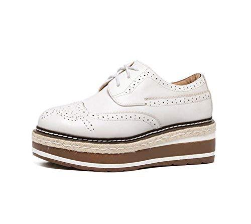 Arriba Estudiante White La De Para Mujer Pie Redondo Inferior 34 Del Muffin Dedo Mujeres Casual 39 Ata Empate Tamaño Ue Británico Plano Grueso Fondo Zapatos AzpSxqqT