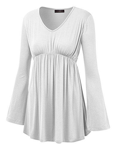 Made By Johnny WT1159 Womens V Neck Long Sleeve Empire Waist Tunic Top XXL White
