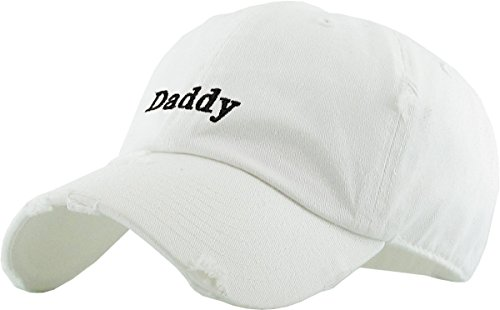 KBSV-083V WHT Daddy Dad Hat Vintage Distressed Baseball Cap Polo Style Adjustable