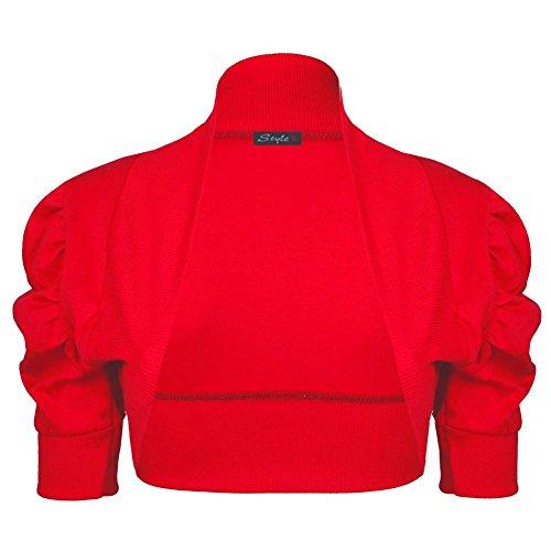 Janisramone Mujeres algodón fruncido bolero puff encogiéndose de hombros rebeca crop arriba manga Rojo