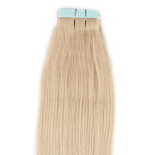 Beauty7 16-28 Inch Tape in Real Remy Human Hair Extensions #613 Bleach Blonde 30-50g 20 Pieces (28
