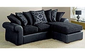 Black Leather/Fabric Corner Sofa Suite in Right or Left: Amazon.co ...