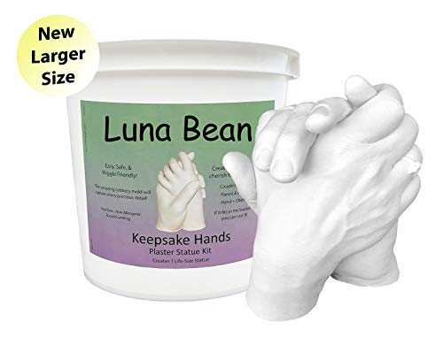 Luna Bean KEEPSAKE HANDS Plaster Statue DIY Couples Hand Molding & Casting Kit (New 50% Larger Size)
