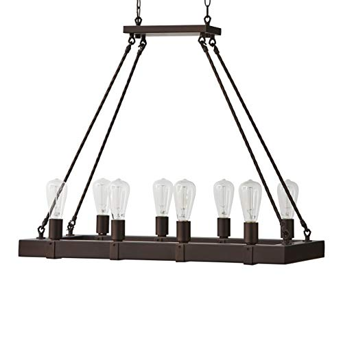 Fan Stone - Stone & Beam Rustic Rectangular Beam Ceiling Chandelier With 8 Edison Light Bulbs - 32 x 14,25 x 27.5 Inches, Oil Rubbed Bronze