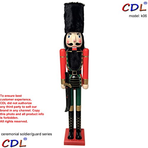 CDL 48'' 4ft tall life-size large/giant Christmas wooden nutcracker fluffy hat soldier ornament on stand holds Scimitar for indoor outdoor Xmas/event/ceremonies/commercial decoration K06 by ECOM-CDL (Image #1)