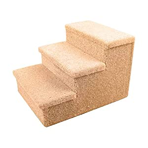 Penn-Plax 3 Step Carpeted Pet Stairs for Both Cats and Dogs Holds Up to 150 LBS 12.75 Inches High, Beige