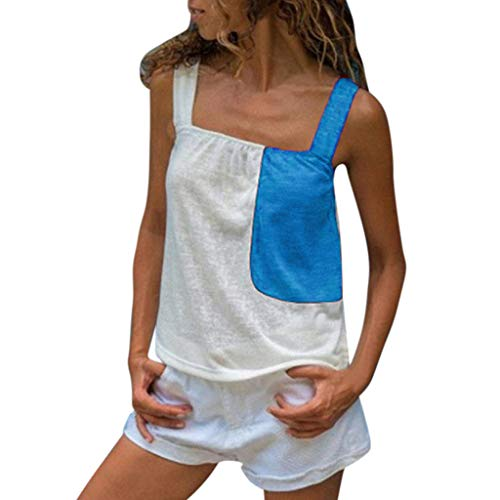 Women Tank Tops Loose Fit,Sunyastor Ladies Summer Color Patchwork Sleeveless Strappy Camis Vest Casual Tank Tops Blue