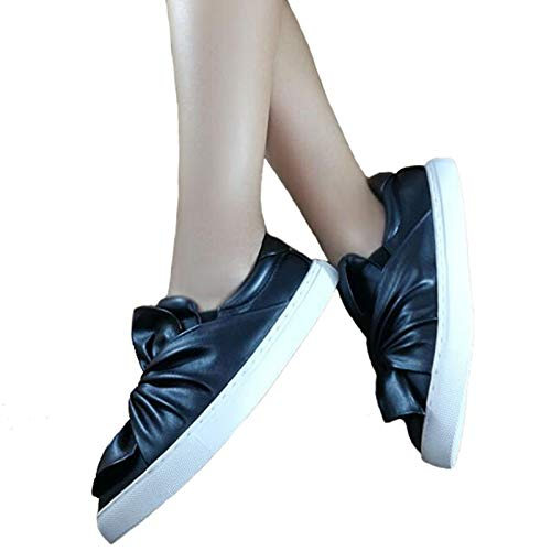 a04f5d5568ca Amazon.com  HuWang 2018 Bow Decor Women s Shoes Spring Autumn Fashion  Platform Ladies Flats Slip On Students White WFS799  Garden   Outdoor
