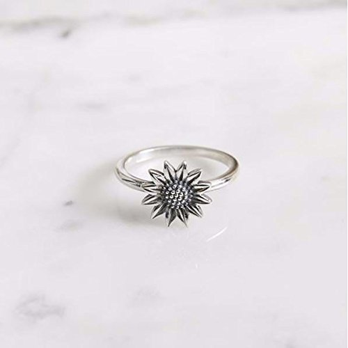 a784c999a Image Unavailable. Image not available for. Colour: 925 sterling silver  Sunflower ring ...