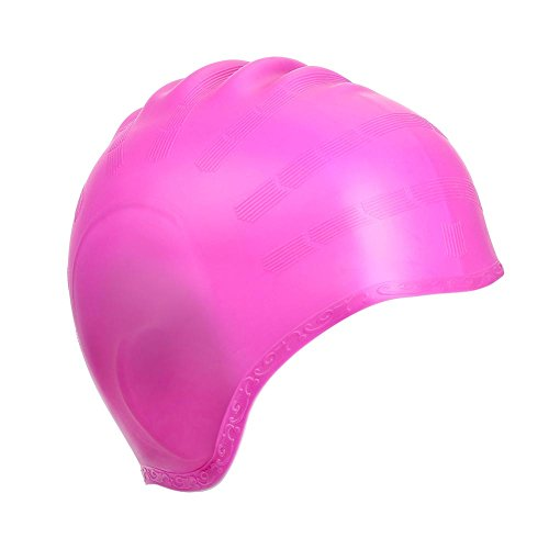 KATTEONG Swimming Cap Silicone Non-Toxic Tasteless Long Hair Swim Cap with 3D Ergonomic Design Ear Pockets and Great High Elasticity for Teenagers Women and Adults Keeps Hair Clean Ear Dry