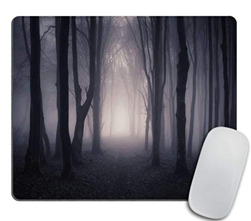 Tree Gaming Mouse pad, Path Through Dark Deep in Forest with Fog Halloween Creepy Twisted Branches Picture, Personality Desings Non-Slip Rubber Mouse Pad