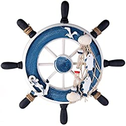 WINOMO Rudder wall decor Mediterranean style Nautical Beach Wooden Boat Ship Steering Wheel Fishing Net Shell Home Wall Decoration 23cm (Blue)