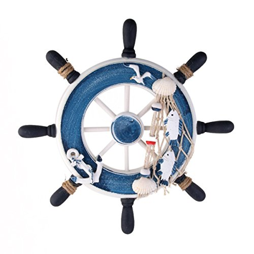 WINOMO Rudder wall decor Mediterranean style Nautical Beach Wooden Boat Ship Steering Wheel Fishing Net Shell Home Wall Decoration 23cm (Blue)