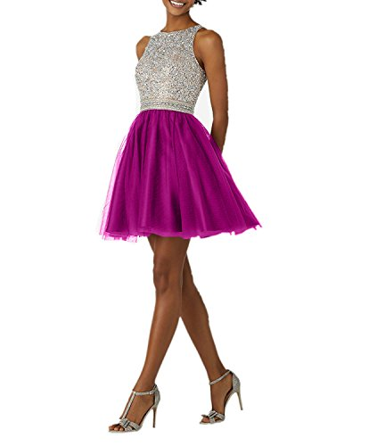 Promkleider Tuell Pailletten Charmant Abendkleider Silber Tanzenkleider Damen Kurzes aus Cocktailkleider Pink xqHwIPwB