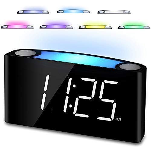 "Bedroom Alarm Clock, 7"" Digital LED Display & Slider Dimmer,12/24 H, 7 Colored Night Light, Loud Alarm, Big Snooze, Easy Set for Elderly Kids Heavy Sleepers,2 Cellphone USB Chargers for - Clock Alarm Easy Wake"