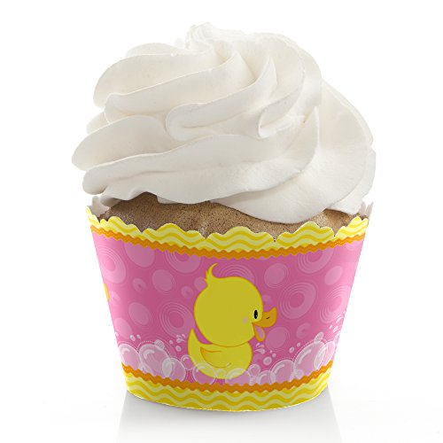 Pink Ducky Duck - Girl Baby Shower or Birthday Party Decorations - Party Cupcake Wrappers - Set of 12