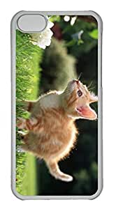 Customized iphone 5C PC Transparent Case - Yellow Cat Cover