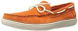 CK Jeans Men's Calico Cow Suede Slip-On Loafer, Orange, 8 M US