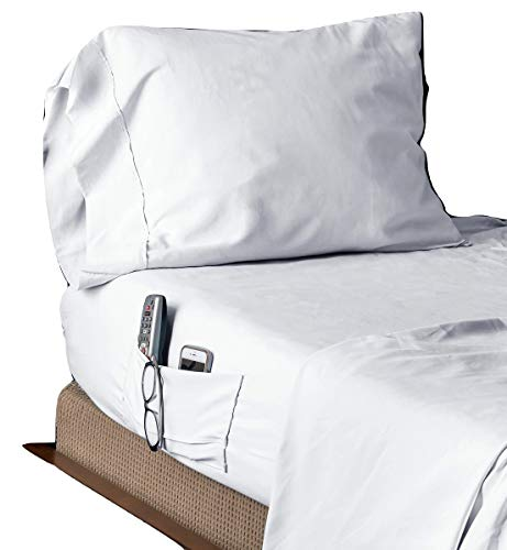 Speedy Sheets 4 Piece King Bed Sheet Set, Fitted and Top Sewn Together at The Bottom, Hypoallergenic Brushed Micorfiber, Handy Side Pockets, Wrinkle Resistant,, Super Soft, (King White)