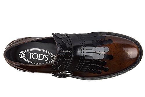 Tod's clásico zapatos mujer en piel nuevo caucho frangia monkstrap marrón