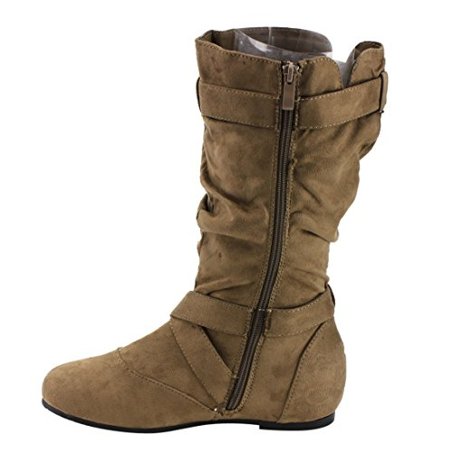 Womens Forever Kayden Side Strap Cut Heel Slouchy 84 Boots Zipper Buckle Taupe Out Flat ppEwxZqrT