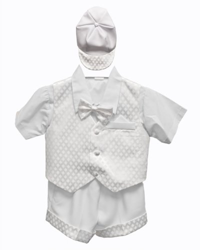 White Baby Boy Tuxedo Short Suit Set, Shirt, Vest, Bow tie, Hat