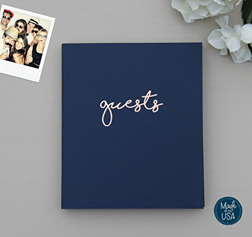 Photo Guest Book Wedding Guest Book, Modern Navy Cardstock Softcover, Flat-Lay Spiral 100 Navy pgs, Embossed with Rose Gold Foil. Birthday Guest Book Poloroid Guest Book. Navy and Blush Decor (Navy) ()