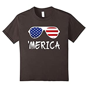 Kids Merica Sunglasses T-Shirt Patriotic Fourth of July Gift 10 Asphalt