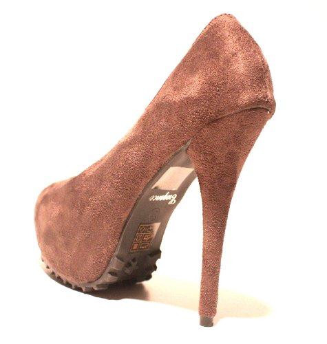 Compensées Chaussures Heels Velourleder Gris Femme Plateau High Erogance IxXw4tq4