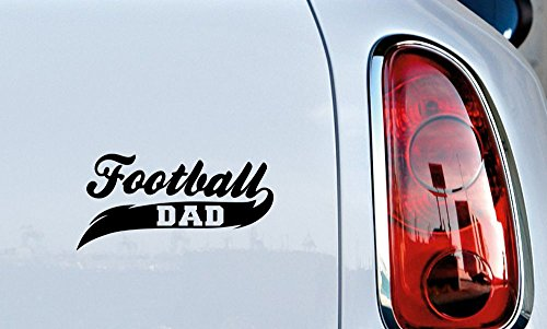 (Dad Football Banner Car Vinyl Sticker Decal Bumper Sticker for Auto Cars Trucks Windshield Custom Walls Windows Ipad Macbook Laptop Home and More (BLACK))