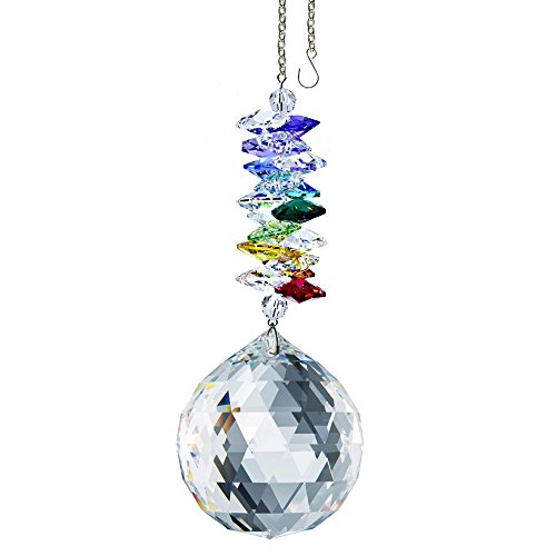 (CrystalPlace Crystal Ornament 4.5 inch Window Suncatcher Clear Faceted Ball Prism Rainbow Maker Crystal Cascade Made with Swarovski Crystals)