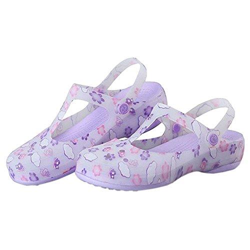 Violet Mesdames Sandals Plage Meijunter Bottes Souple Respirant Pluie Chaussures Femme De Gelée Antidérapant Printed Hole 6gd4Wgqwxv