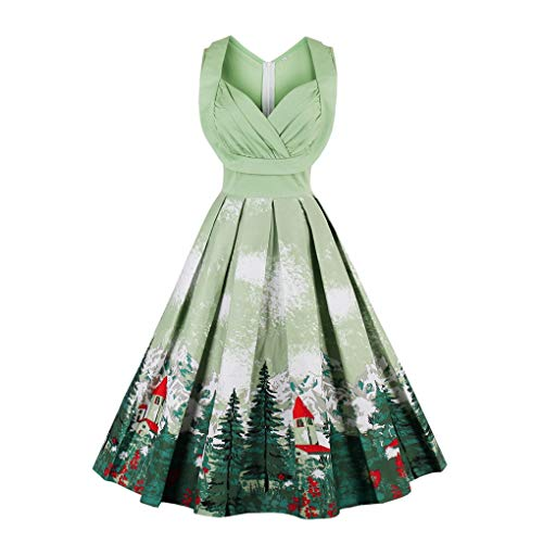 Fenxxxl Women's Christmas Dress Xmas Gifts Santa Claus Print Flared A Line Skater Dress F131-1370 Green XL