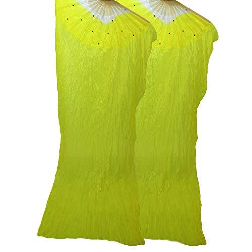 WEISIPU 1 Pair 1.8m Raks Sharki Belly Dancing Silk Fans Chinese Hand Made Bamboo Veils Long Fans(Yellow)