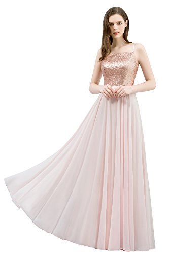 Misshow Damen Abendkleid Lang Elegant Glitzer Pailletten Chiffon ...