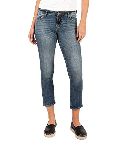 KUT from the Kloth Catherine Ankle Straight Leg Jeans in Uphold w/Dark Stone Base Wash Uphold w/Dark Stone Base Wash 14