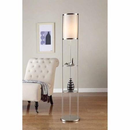 "Artiva USA 64"" Exeter Brushed Steel Shelf Floor Lamp"
