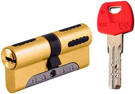 IFAM WX1000 Bombin de seguridad color LATON, reforzado, antirotura, antibumping, antitaladro, leva antiextracción, cerradura para puerta, incluye 5 llaves ...